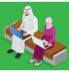 Arabian business man working on laptop arab vector