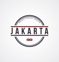 Jakarta badge indonesia label theme vector