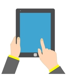 Hand touching blank screen of tablet vector