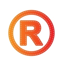Registered trademark sign orange applique vector