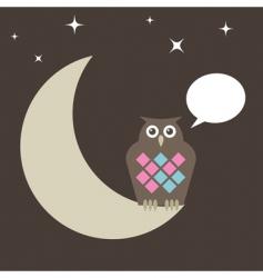 owl on moon vector image