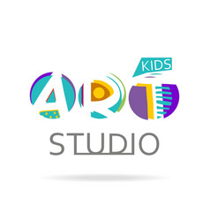 Logo design template for kids art studio vector