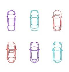 Cars top view icons vector image