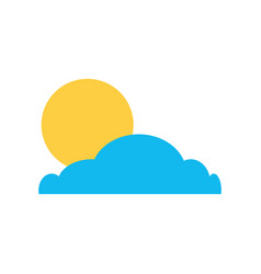 Cloud with sun summer icon vector