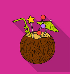 Coconut cocktail icon in flate style isolated on vector