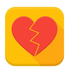 Crash heart app icon with long shadow vector image