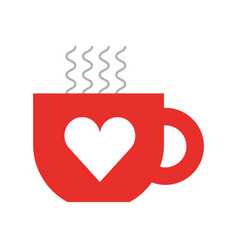 cute coffee cup heart handle hot drink vector image