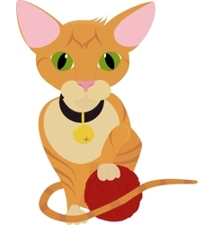 cute ginger orange kitten playing with ball of vector image vector image