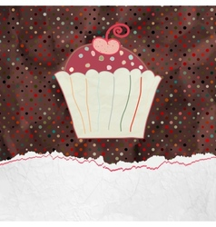 Cute retro Cupcake in frame EPS 8 vector image vector image