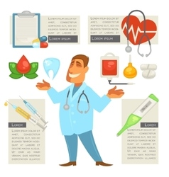 Doctor character man with medical icons set vector