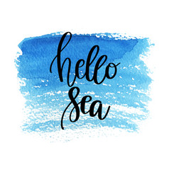 hand drawn lettering quote - hello sea summer vector image