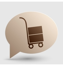 Hand truck sign brown gradient icon on bubble vector