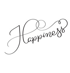 happiness word on white background hand drawn vector image