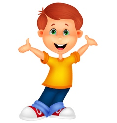Happy boy cartoon posing vector image vector image