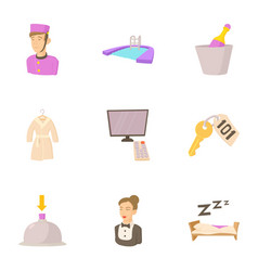 inn icons set cartoon style vector image vector image