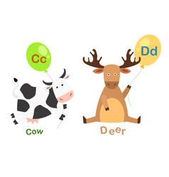 Isolated alphabet letter c-cowd-deer vector