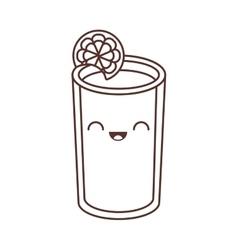 Kawaii glass cup juice lemonade fresh vector