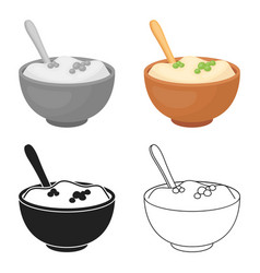 Mashed potatoes icon in cartoon style isolated on vector