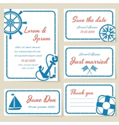 Nautical style wedding invitation and cards vector