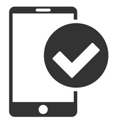 Phone ok flat icon vector