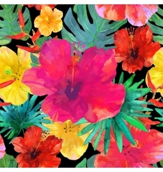 Seamless floral background tropical colorful vector
