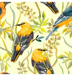 Seamless pattern of birds and plants bird pattern vector
