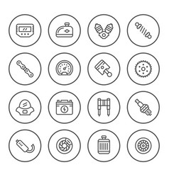 Set round line icons of motorcycle parts vector