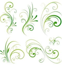 Spring floral decorative swirls vector