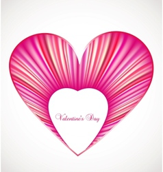 Valentine day card with pink heart vector image vector image