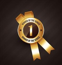 winner number one badge rosette label vector image