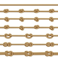Yellow twisted rope border set vector image vector image