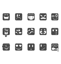 square smiley face icons vector image