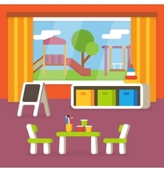 Kindergarten classroom preschool room interior vector