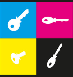 key sign   white icon with vector image