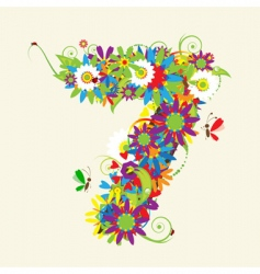 number 7 floral design vector image