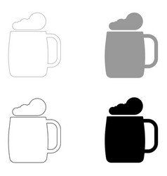Glass of beer the black and grey color set icon vector
