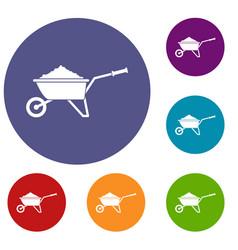 Wheelbarrow loaded with soil icons set vector