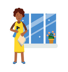 beautiful young black woman washing window with vector image