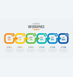 6 steps timeline infographic template with arrows vector