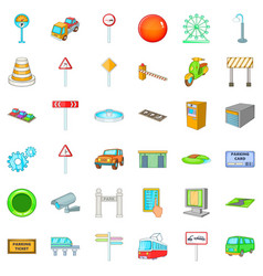 City geography icons set cartoon style vector