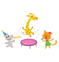 Flat animals party set isolated vector
