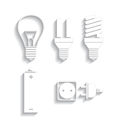 set of energy electricity icons vector image