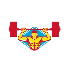 Weightlifter body builder lifting weights retro vector