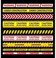 Warning security and caution ribbons and tapes vector