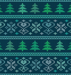 Seamless knitted pattern with trees and snowflakes vector