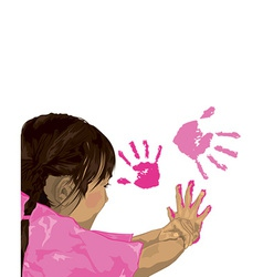 Girl finger painting cartoon vector