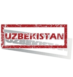 Uzbekistan outlined stamp vector
