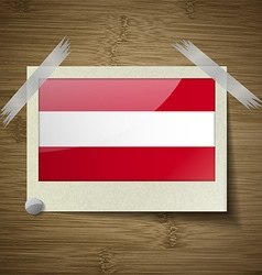 Flags austria at frame on wooden texture vector