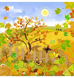 Rural landscape autumn vector
