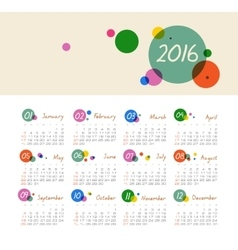 Calendar for 2016 with circles week starts sunday vector
